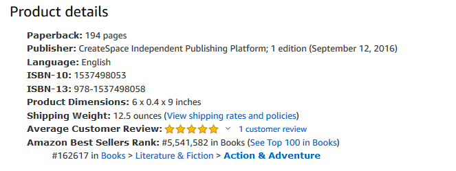 Screen shot of product details from the book's Amazon listing. It shows the category : Books ></noscript> Literature &amp; Fiction > Action &amp; Adventure