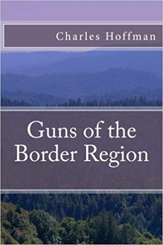Guns of the Border Region - original cover from template. The background image is a view of trees and distant mountains, with the author name in an overlay across the top, and the title in the middle over a background of lavender-gray.