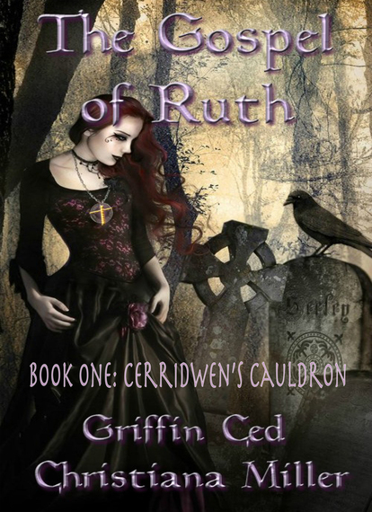 The cheap book cover design. A gothic-looking illustration of a woman, gravestones, and a raven against a backdrop of trees in shades of warm gray, with the book title, subtitle and author names set in a lavender shade.