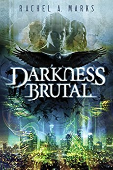 Darkness Brutal book cover, a dramatic image of three faces and a raven above a cityscape at night.